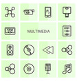 14 multimedia icons vector image vector image