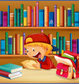 a boy at library vector image