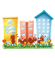 A garden with ants and a butterfly vector image vector image