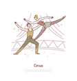 acrobat man and woman performance circus show vector image