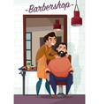 barber services cartoon vector image