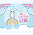 bashower cute sloth rainbow with clouds cartoon vector image vector image