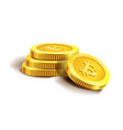 bitcoin golden coins pile stack vector image vector image