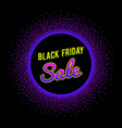 black friday sale banner with glowing neon circle vector image