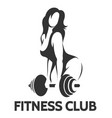 bodybuilder woman with barbell vector image vector image