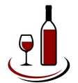 bottle and glass red wine vector image vector image
