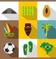 brazilan symbols icon set flat style vector image vector image