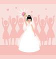 bride in white wedding dress throws flowers into vector image vector image