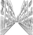 buildings in town drawing vector image vector image