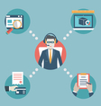 Businessman manage business resources vector image