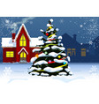 christmas tree near residential houses in the vector image