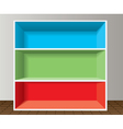 colorful empty bookshelf vector image vector image