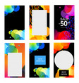 colorful stories templates collection white vector image