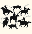 cowboys with lasso riding a horse at rodeo vector image