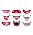 creepy clown mouths set scary smile with jaws vector image