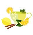 cup tea with lemon vector image