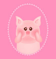 cute little pig with red cheeks on pink vector image vector image