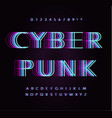 cyber punk letters and numbers set overlay vector image