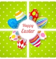 Easter green background card with ornament eggs vector image vector image