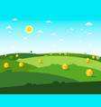 empty field flat design meadow sunny day vector image vector image