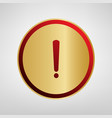 exclamation mark sign red icon on gold vector image vector image