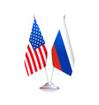 flags of usa and russia on white background vector image