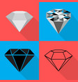 four different diamond on backgrounds in flat vector image vector image