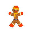 gingerbread man holiday cookie christmas vector image vector image