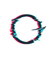 glitch distortion frame circle vector image