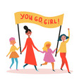 group of young women with you go girl streamer vector image vector image