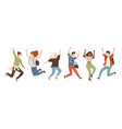 group young joyful laughing people jumping vector image vector image