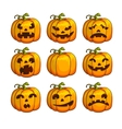 Halloween scary pumpkins set of different vector image vector image
