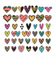 hand drawn set of colored hearts sketch vector image vector image