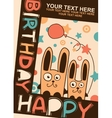 Happy Birthday card with rabbits vector image