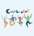 happy group people jumping vector image vector image