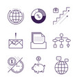money and analytics symbols object outline vector image vector image