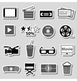 movie and cinema grayscale stickers set eps10 vector image vector image