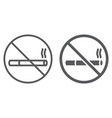 no smoking line and glyph icon forbidden and vector image vector image