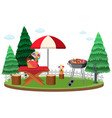 picnic scene with food on table and bbq grill vector image vector image