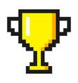 pixel art golden cup award trophy icon vector image vector image