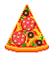 Pixel pizza slice isolated vector image vector image