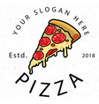 pizza est 2018 white background image vector image