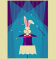 rabbit in magical hat magic show background vector image vector image