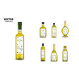 realistic extra virgin olive oil glass bottles vector image vector image