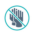 rubber gloves with prohibition sign colored icon vector image vector image