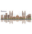 sanaa yemen city skyline with color buildings and vector image vector image