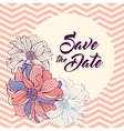 Save the Date card Flowers on chevron background vector image vector image