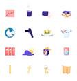 set icons growing arrow chart litter bin and vector image
