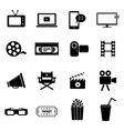 Set of icons - cinema movies and film industry vector image vector image