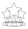 set of trophy stars winner leadership competition vector image vector image